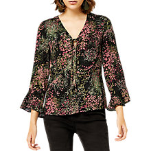 Buy Warehouse Wild Garden Top, Black Pattern Online at johnlewis.com