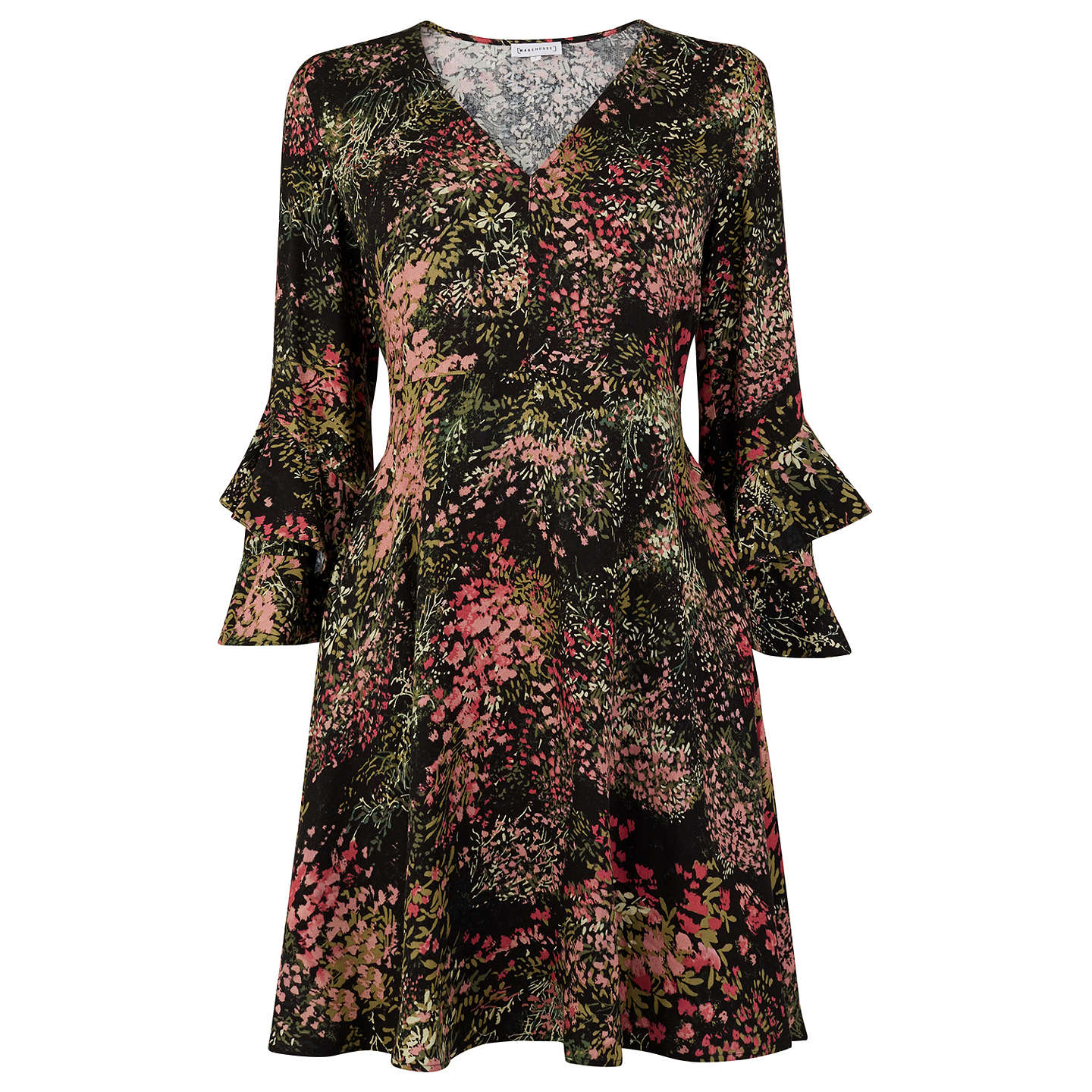 BuyWarehouse Wild Floral Dress, Black Pattern, 6 Online at johnlewis.com
