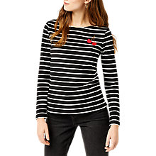 Buy Warehouse Stripe Cherry Embroidered Top, Black Stripe Online at johnlewis.com