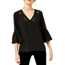Buy Warehouse Cutwork Embroidered Top, Black Online at johnlewis.com