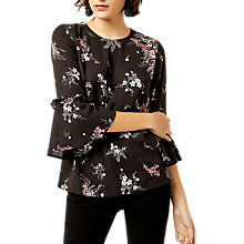Buy Warehouse Spaced Sprig Top, Black Online at johnlewis.com