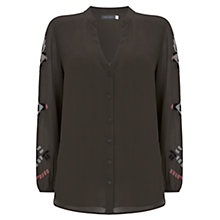 Buy Mint Velvet Embroidered Sleeve Blouse, Dark Green Online at johnlewis.com