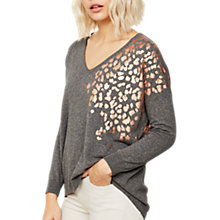 Buy Mint Velvet Foil Leopard Jumper, Granite Online at johnlewis.com