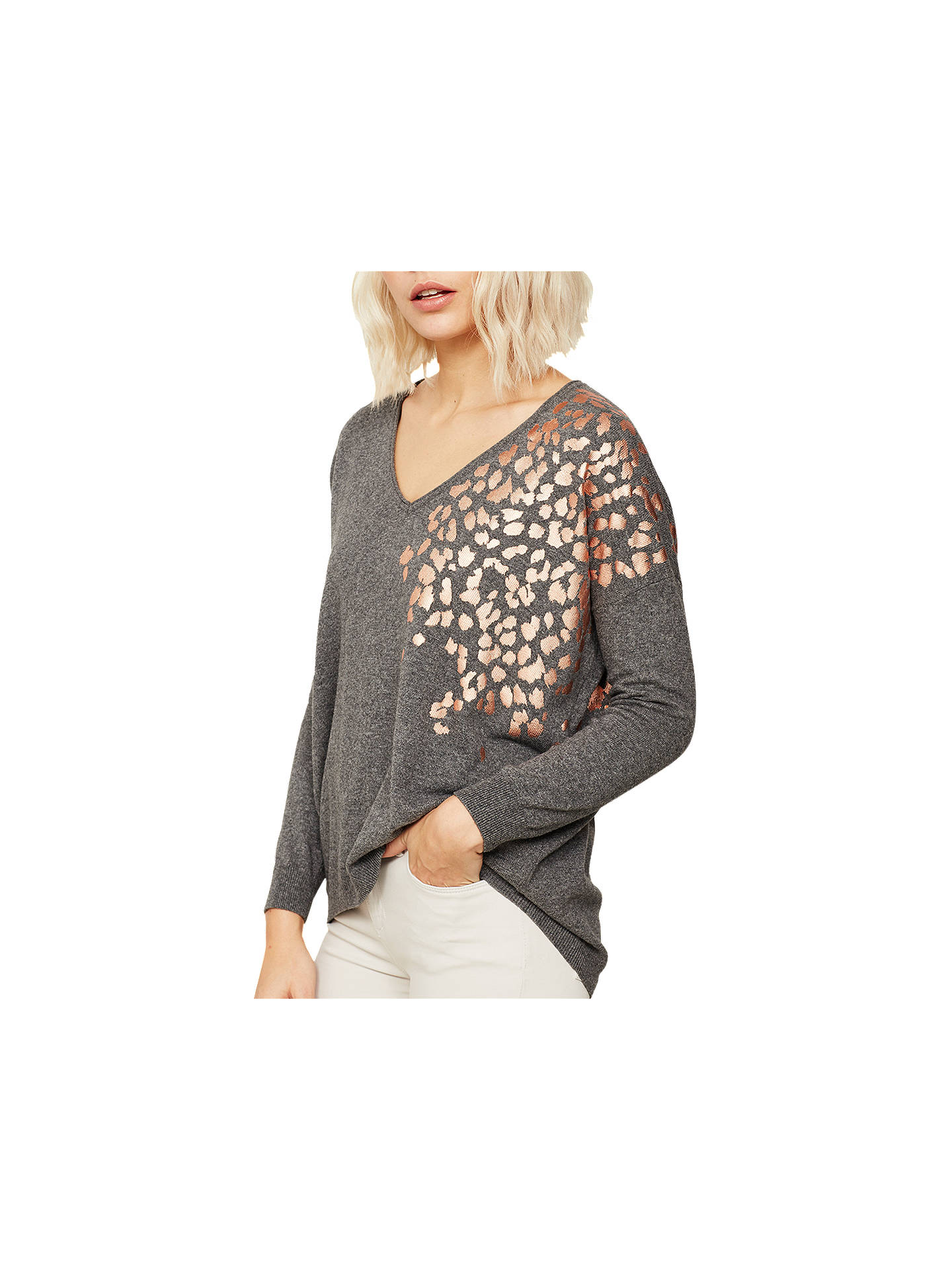 8da7bfba3186 Buy Mint Velvet Foil Leopard Jumper, Granite, XS Online at johnlewis.com ...