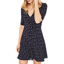 Buy Oasis Star Rouched Tea Dress, Blue/Multi Online at johnlewis.com