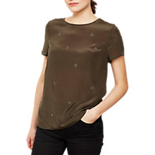 Buy Mint Velvet Star Silk Front Top Online at johnlewis.com