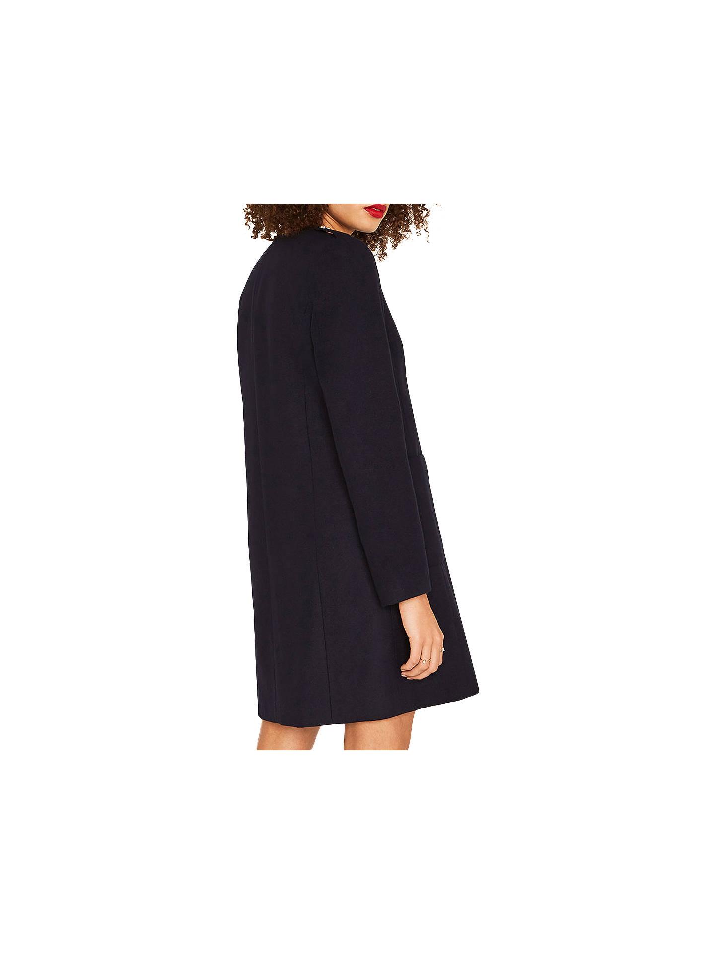 71ea393897d9 ... Buy Oasis Collarless Coat, Navy, XS Online at johnlewis.com ...