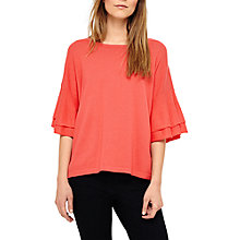 Buy Phase Eight Daisi Double Frill Sleeve Knit Top, Coral Reef Online at johnlewis.com