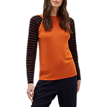 Buy Jaeger Stripe Sleeve Wool Jumper, Orange/Stripe Online at johnlewis.com