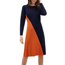 Buy Jaeger Colour Block Knitted Dress, Navy/Burnt Orange Online at johnlewis.com