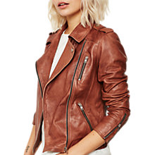 Buy Mint Velvet Leather Biker Jacket, Tan Online at johnlewis.com