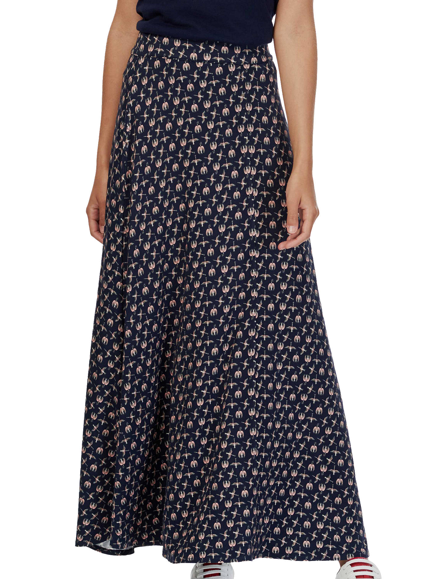 e8e6195ad Buy Brora Liberty Print Maxi Skirt, Navy Bird, 6 Online at johnlewis.com ...