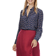 Buy Brora Liberty Print Silk Shirt, Navy Bird Online at johnlewis.com