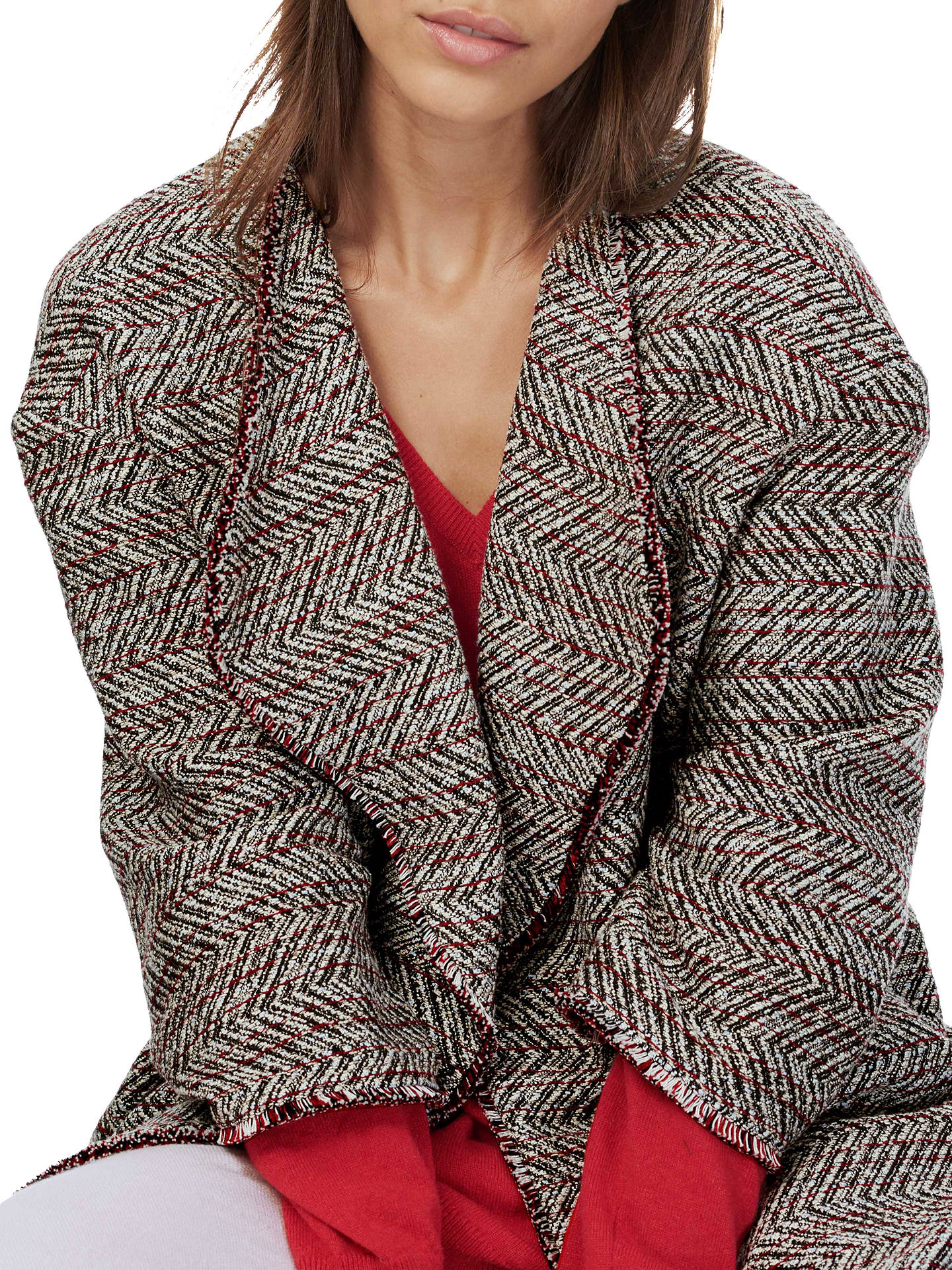 Buy Brora Chevron Textured Jacket, Charcoal/Scarlet, S-M Online at johnlewis.com