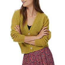 Buy Brora Mohair Textured V-Neck Cardigan, Citrine Online at johnlewis.com