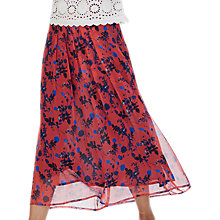 Buy Brora Liberty Midi Silk Skirt, Hibiscus Online at johnlewis.com
