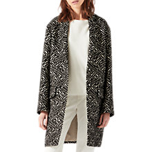 Buy Jigsaw Monochrome Textured Coat, Black Online at johnlewis.com