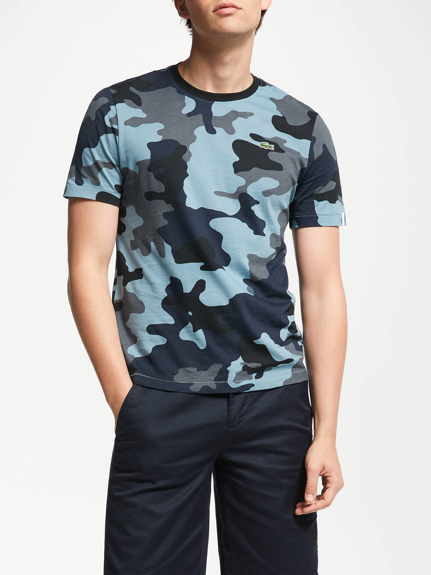 773d1bb120 Buy Lacoste LIVE Camo Crew Neck T-Shirt, Blue, S Online at johnlewis ...