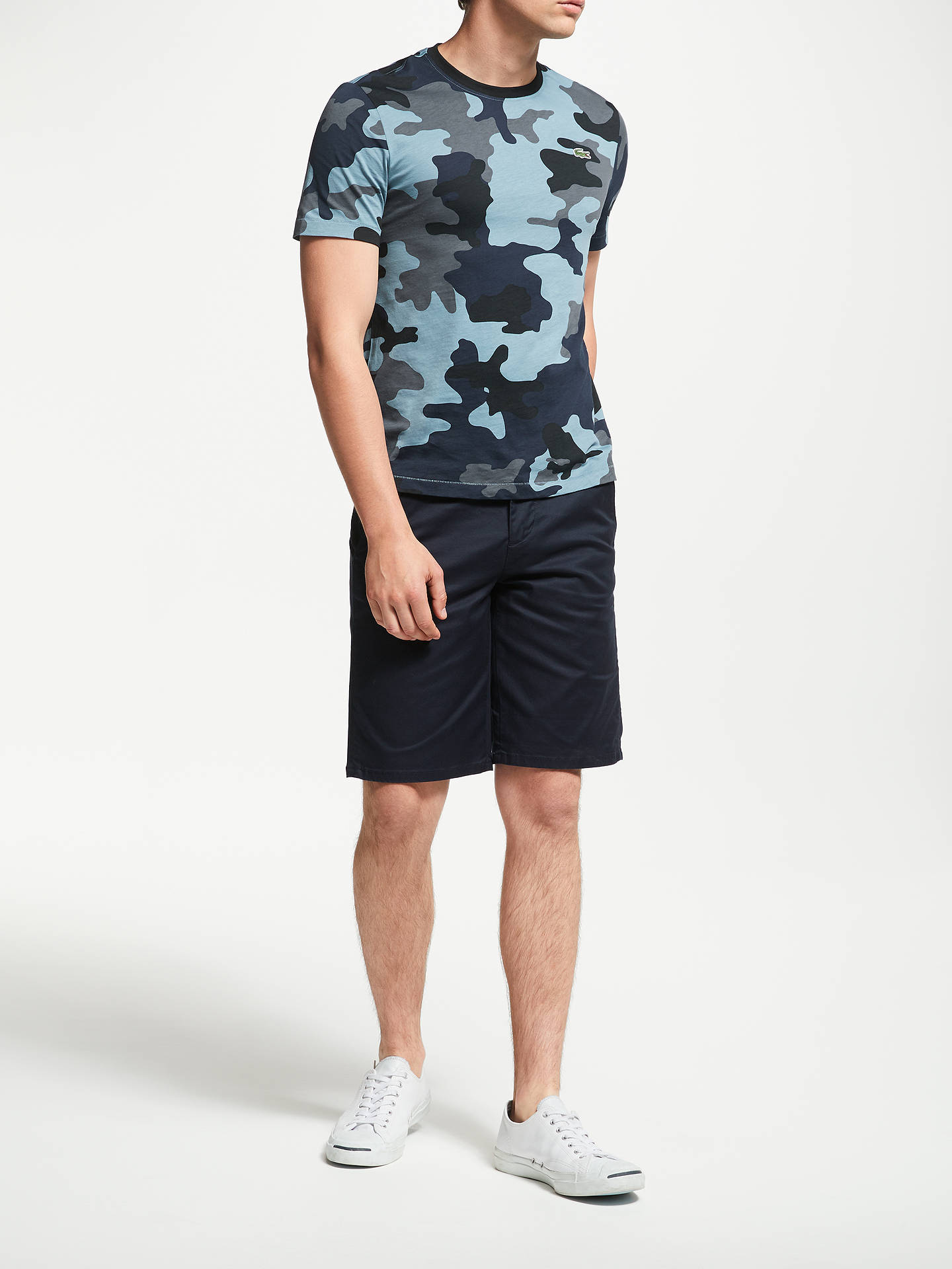 446a43ad ... Buy Lacoste LIVE Camo Crew Neck T-Shirt, Blue, S Online at johnlewis ...