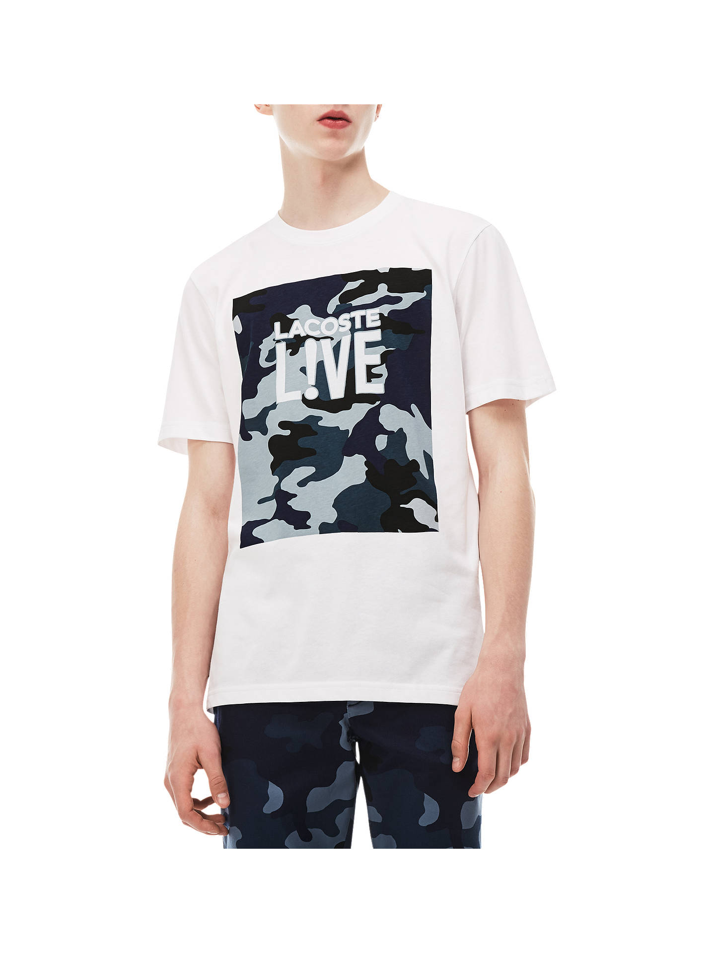 1a371eca1d Lacoste LIVE Camo Logo Graphic Print T-Shirt, White/Blue at John ...