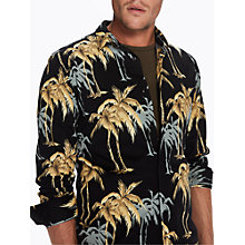 Buy Scotch & Soda All Over Palm Print Long Sleeve Shirt, Black Online at johnlewis.com