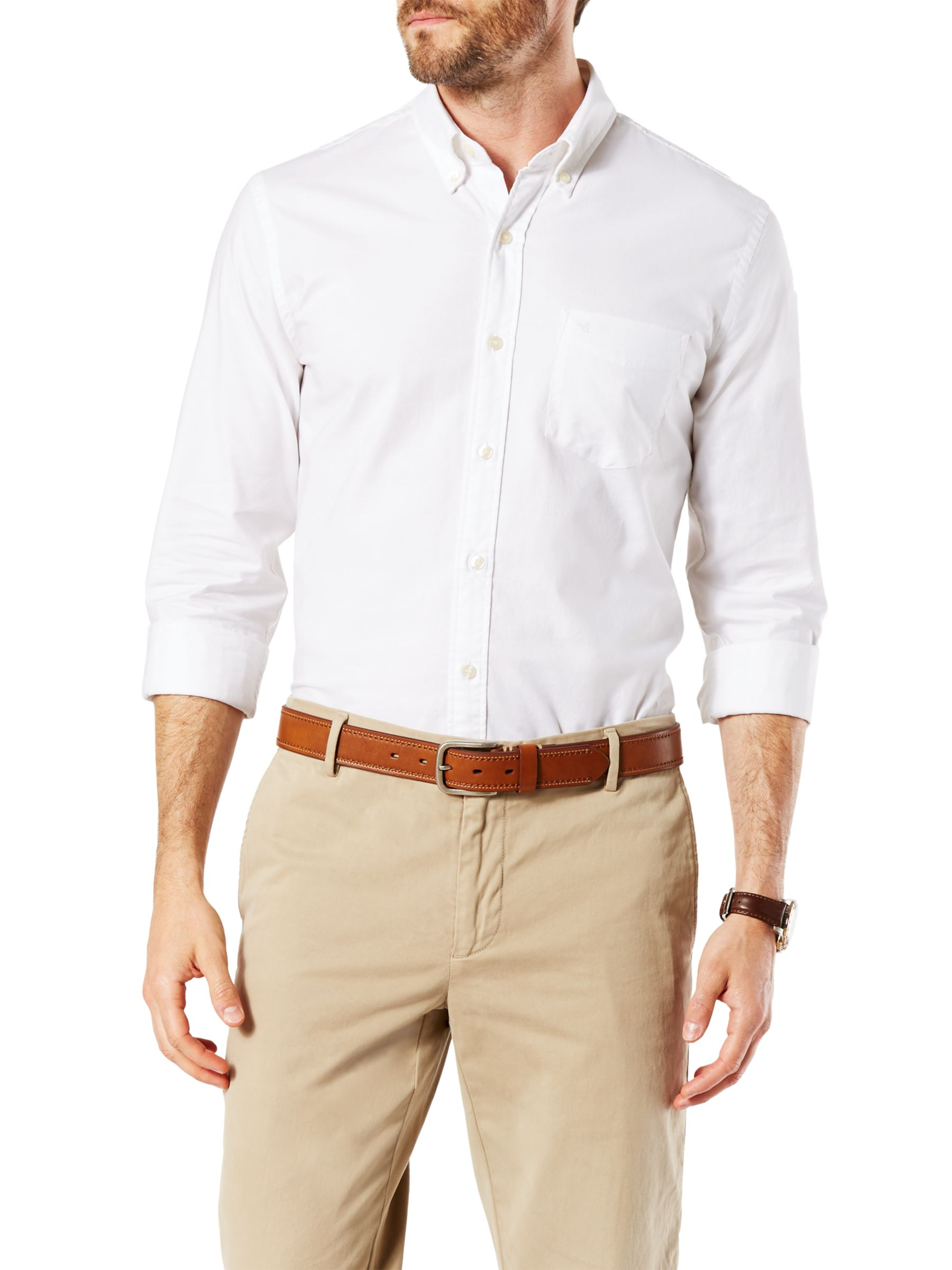 Dockers Dockers Stretch Long Sleeve Oxford Shirt, Paper White