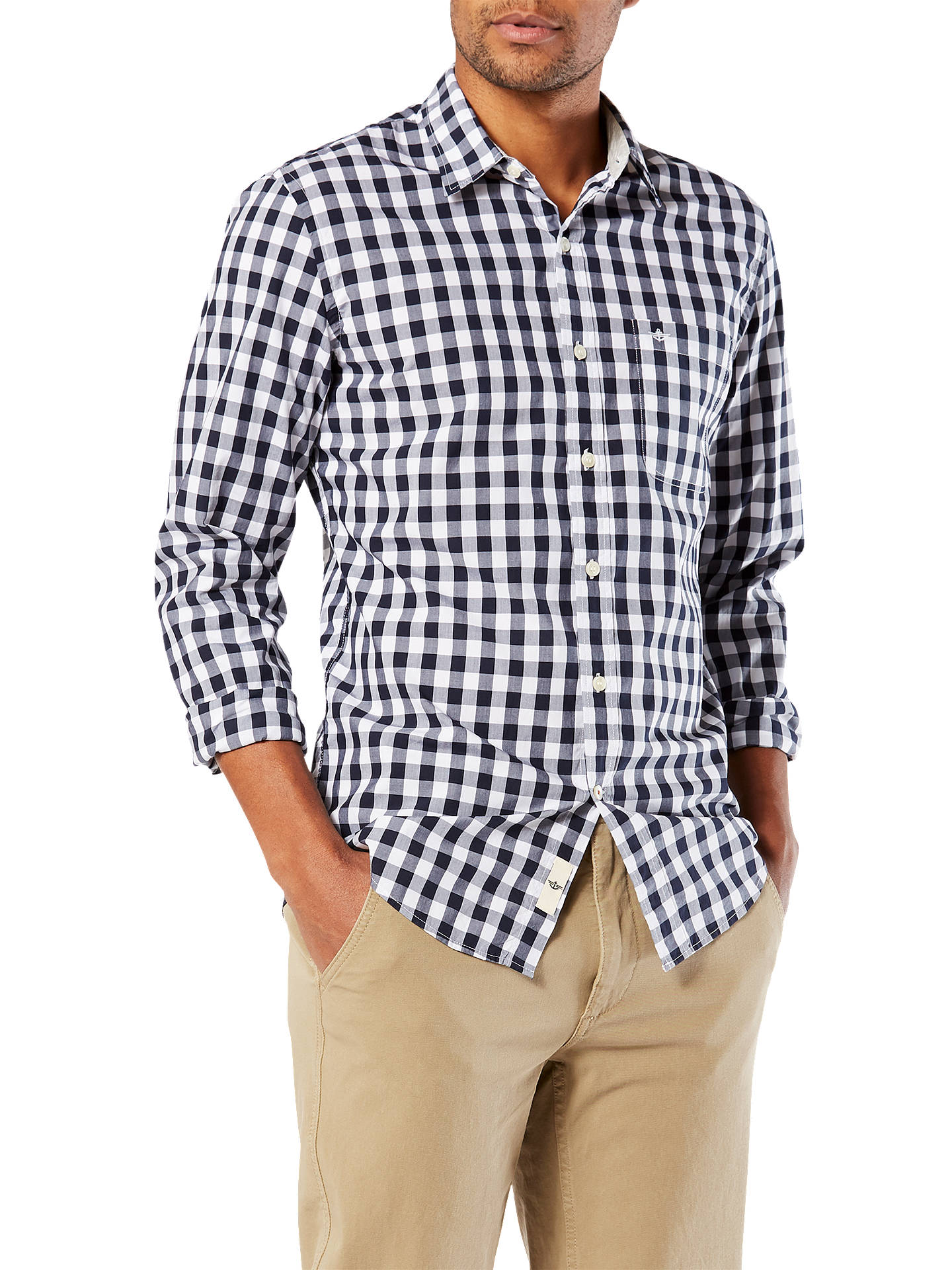 BuyDockers Alpha Laundered Poplin Shirt, Pembroke Helm, S Online at johnlewis.com