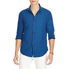 Buy Polo Ralph Lauren Long Sleeve Poplin Dobby Shirt, Indigo Dobby Online at johnlewis.com