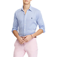 Buy Polo Ralph Lauren Oxford Pique Long Sleeve Shirt, Blue/White Online at johnlewis.com
