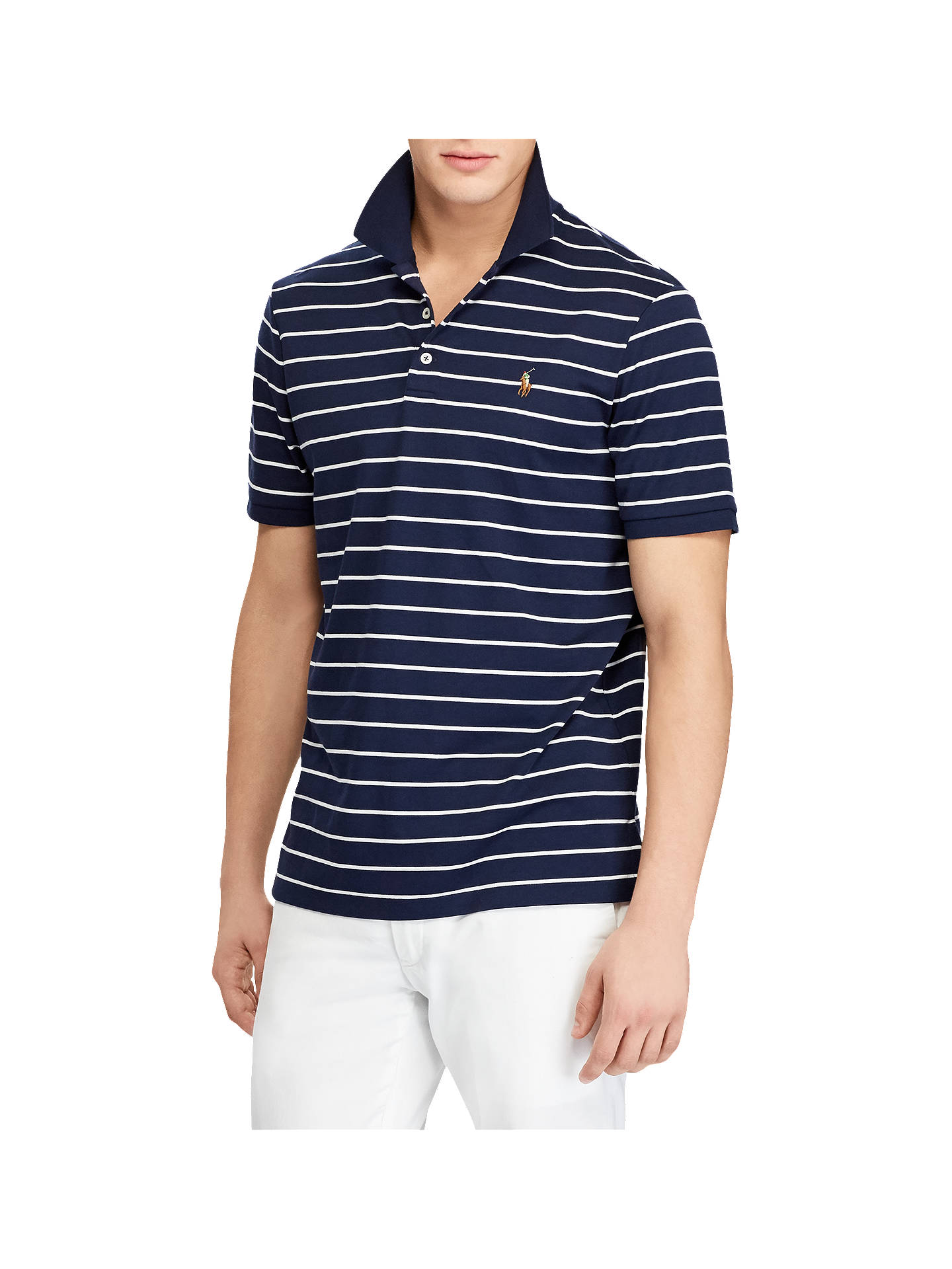 Polo Ralph Lauren Slim Fit Polo Top French Navywhite At John Lewis