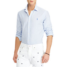 Buy Polo Ralph Lauren Cotton Poplin Stripe Standard Fit Shirt, Dress Shirt Blue/White Online at johnlewis.com