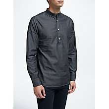 Buy J.Lindeberg Daniel Half Placket Slim Fit Washed Shirt, Dark Indigo Online at johnlewis.com
