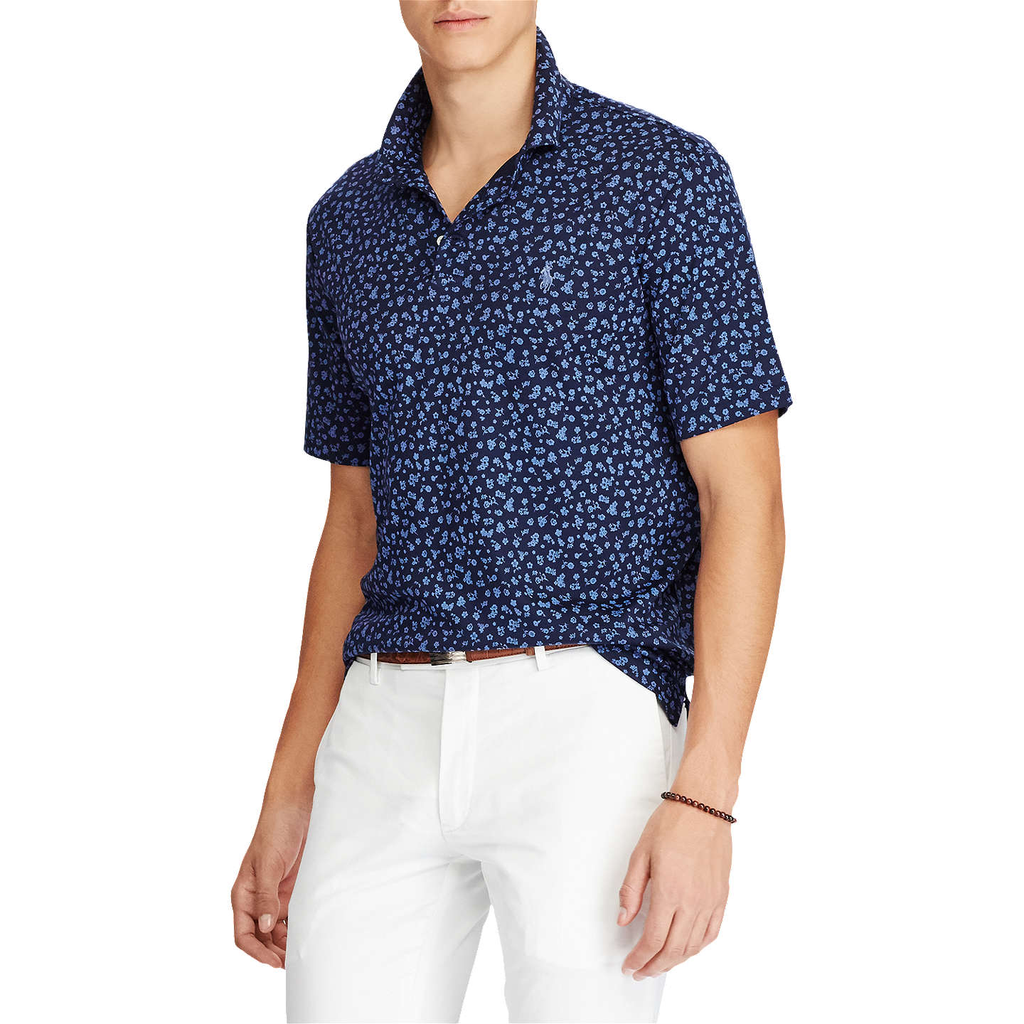 BuyPolo Ralph Lauren Pima Cotton Slim Fit Polo Shirt, Tossed Navy Floral, S  Online ...