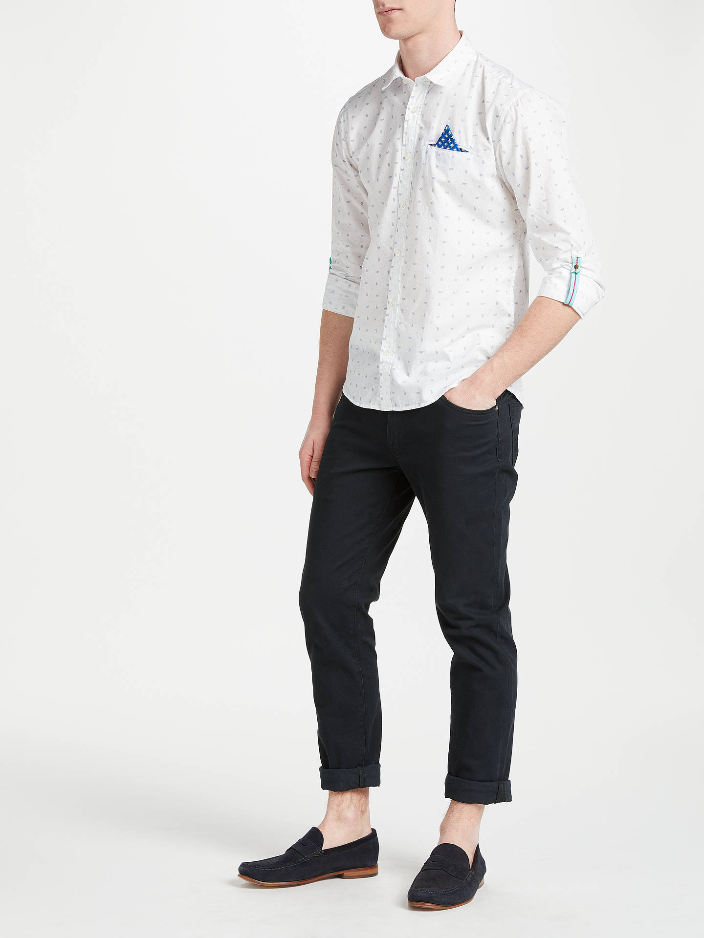 BuyScotch & Soda Fixed Pocket Tab Sleeve Pattern Shirt, White/Multi, S Online at johnlewis.com