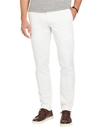 Buy Polo Ralph Lauren Hudson Slim Fit Stretch Cotton Trousers, White, 32R Online at johnlewis.com