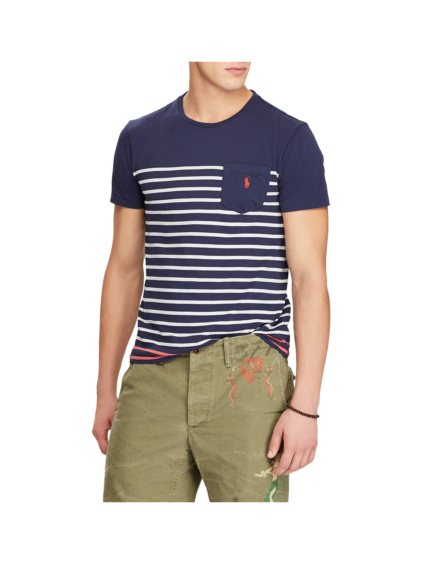 1c68abb0a Buy Polo Ralph Lauren Yarn Died Stripe Pocket T-Shirt, Newport Navy, S ...