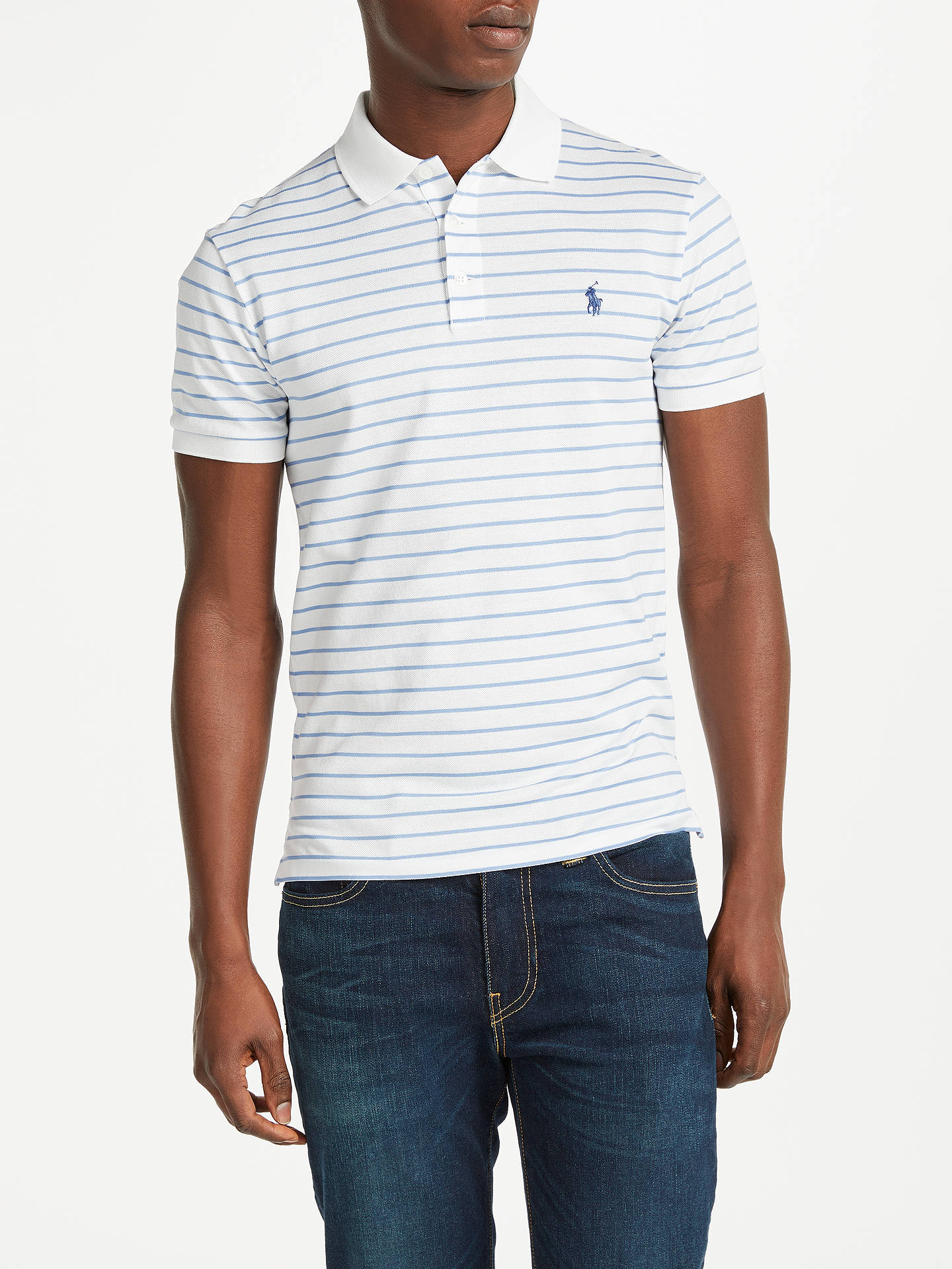 ec6979e6 Buy Polo Ralph Lauren Slim Fit Stretch Stripe Polo Shirt, White/Blue, S ...
