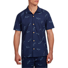 Buy HYMN Frenzy Short Sleeve Shark Shirt, Navy Online at johnlewis.com