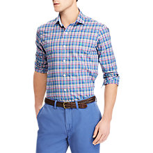 Buy Polo Ralph Lauren Long Sleeve Gingham Poplin Shirt, Royal/Pink Online at johnlewis.com