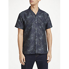 Buy J.Lindeberg David Short Sleeve Slim Fit Jacquard Shirt, Hedge Green Online at johnlewis.com