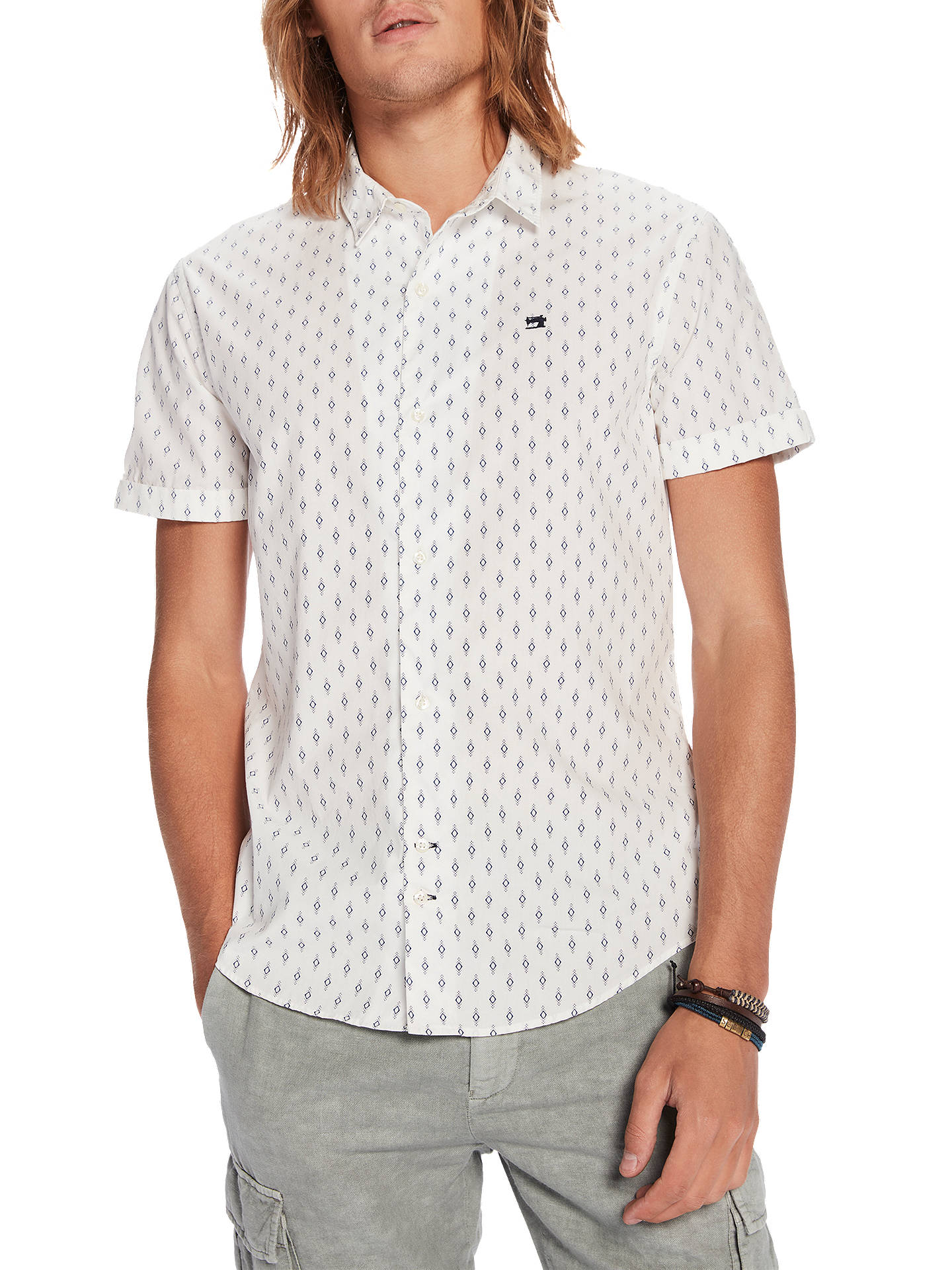 Buy Scotch & Soda Short Sleeve Diamond Print Shirt, White, S Online at johnlewis.com