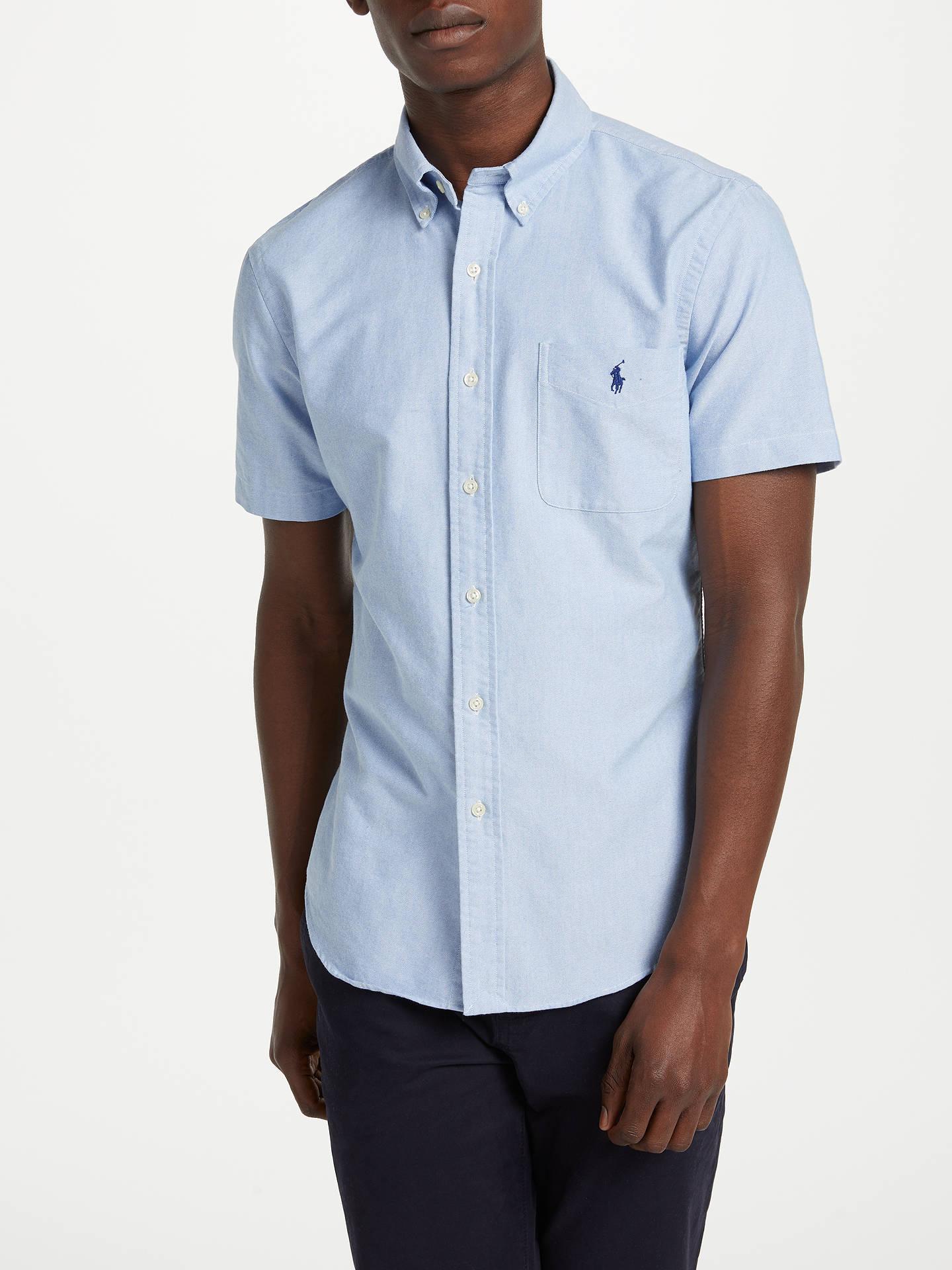 Polo Ralph Lauren Short Sleeve Slim Oxford Shirt at John ...