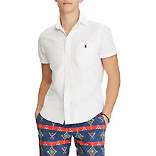 Buy Polo Ralph Lauren Short Sleeve Slim Fit Printed Oxford Shirt, White Online at johnlewis.com