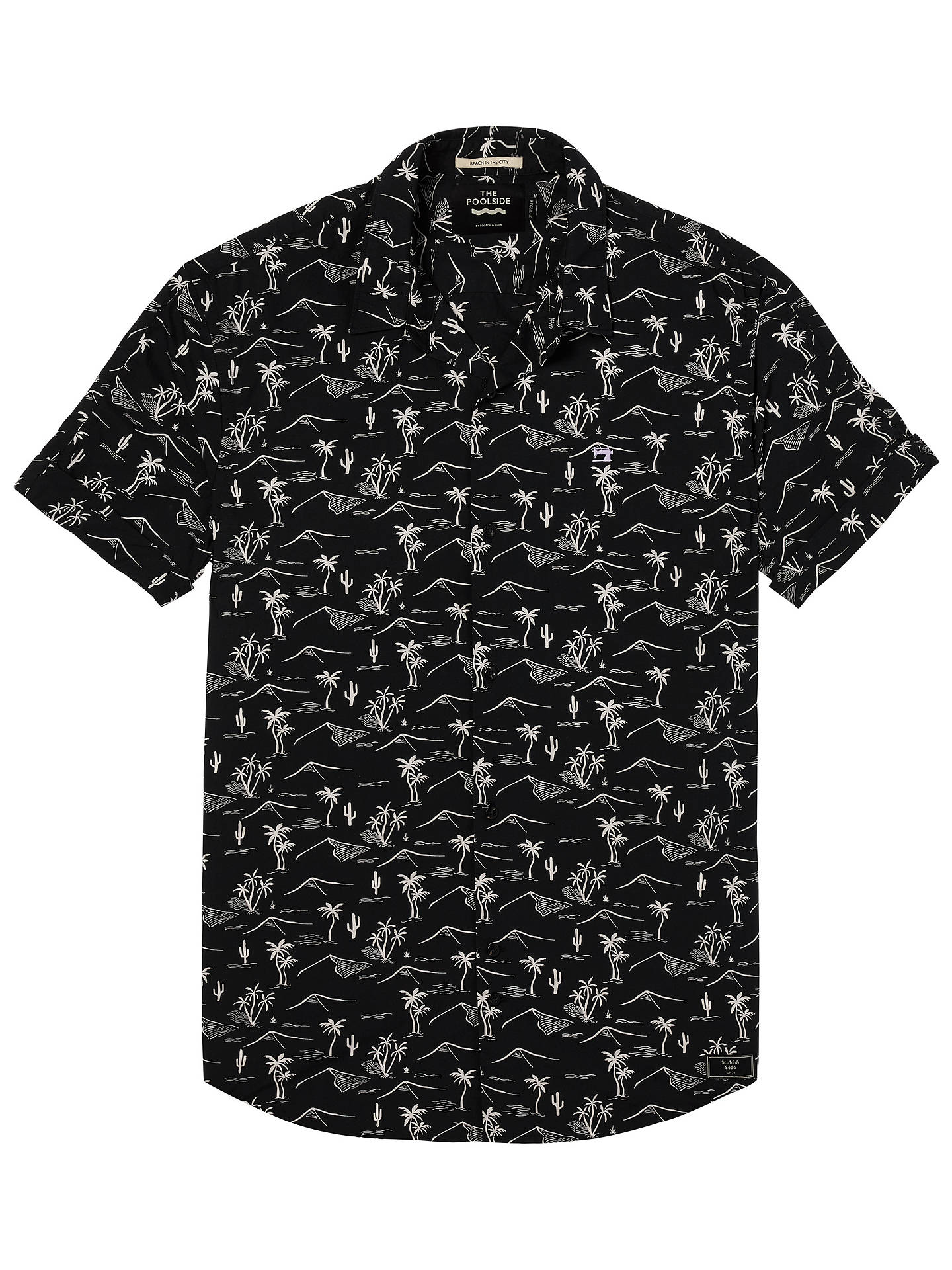 BuyScotch & Soda Poolside Short Sleeve Shirt, Black, S Online at johnlewis.com