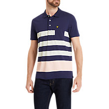 Buy Lyle & Scott Wide Stripe Short Sleeve Polo Shirt, Navy Online at johnlewis.com