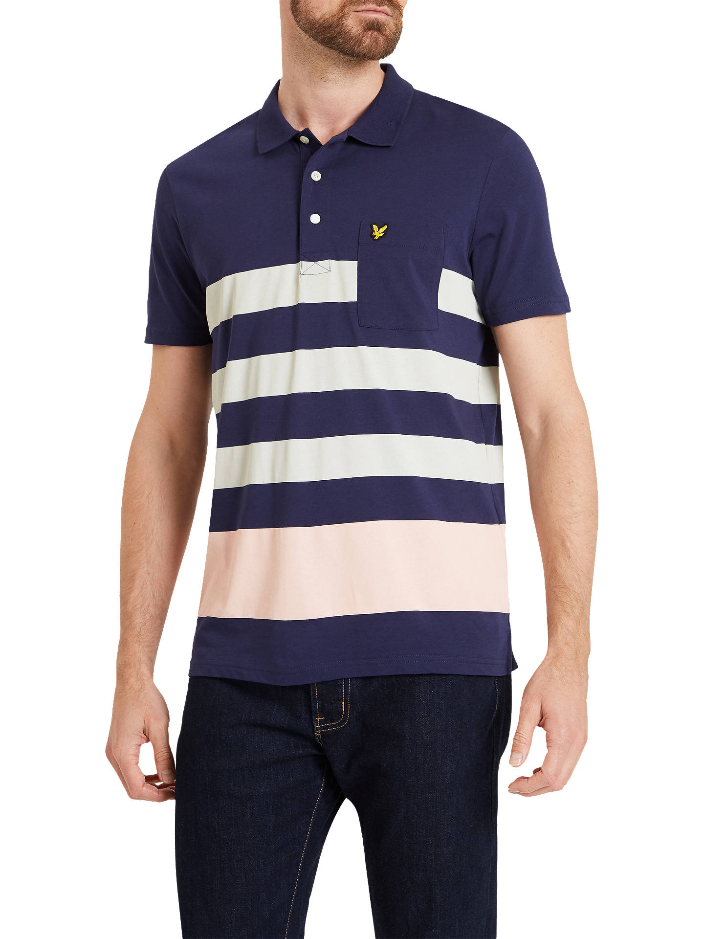 ac53ef6a Buy Lyle & Scott Wide Stripe Short Sleeve Polo Shirt, Navy, S Online at ...