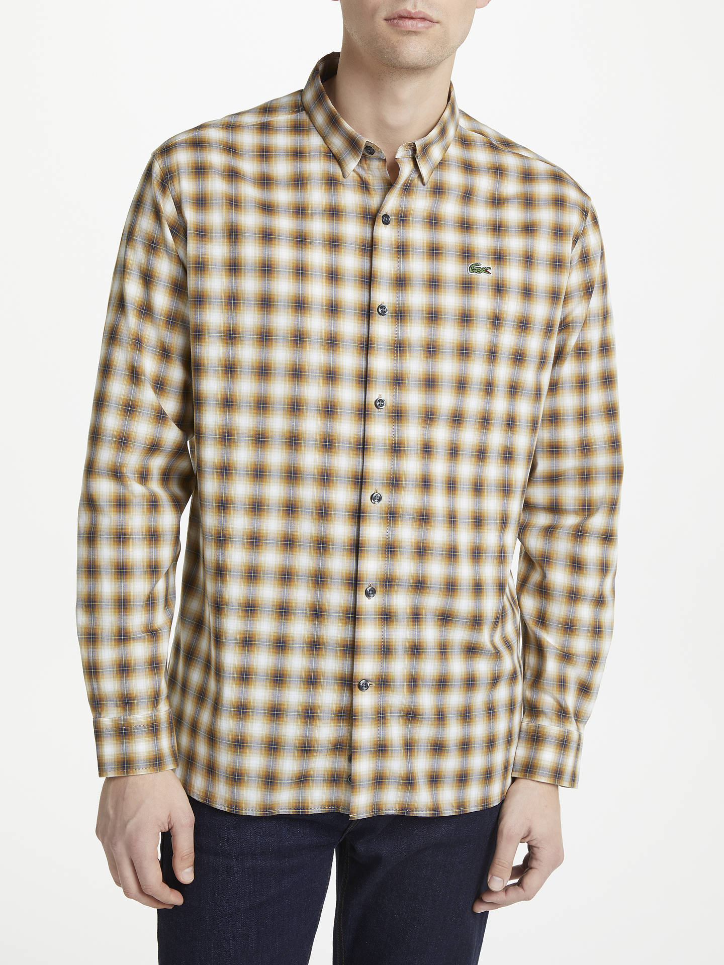d7cb12fe Lacoste LIVE Boxy Long Sleeve Check Shirt, Brown at John Lewis ...