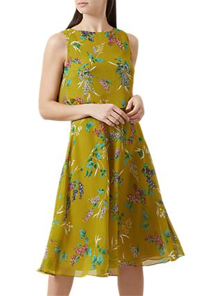 Hobbs Ember Floral Dress, Chartreuse/Multi