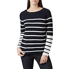Buy Hobbs Rae Striped Sweater, Navy/Ivory Online at johnlewis.com