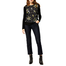 Buy Oasis Sprig Floral Top, Black Pattern Online at johnlewis.com